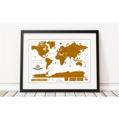 Карта мира с золотистым стирающимся слоем